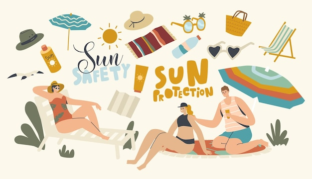 People use sun protection concept. male and female characters on beach put sunscreen cream on skin. summer vacation, ultraviolet rays hazard for health defence, sunbath. linear vector illustration