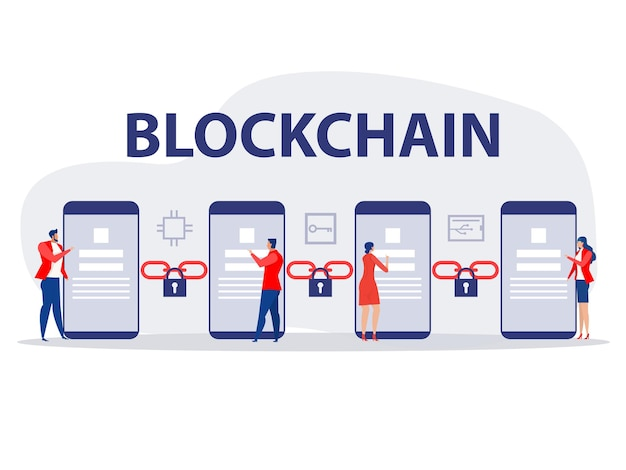 人々は技術暗号通貨とブロックチェーンネットワークの概念のベクトル図を使用します