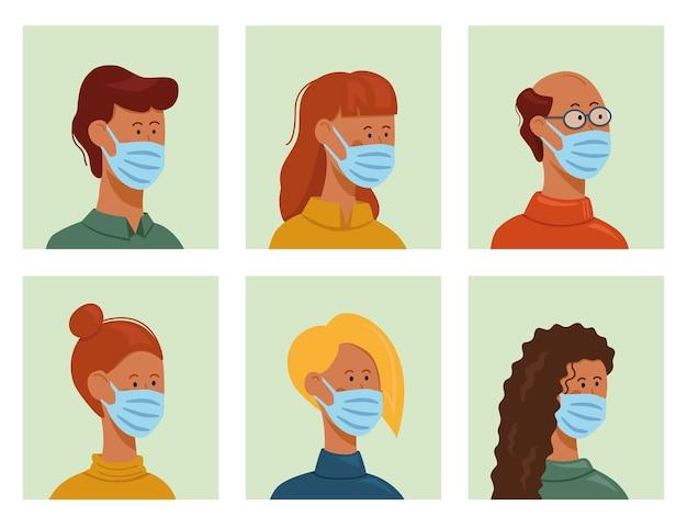 コロナウイルスにフェイスマスクを使用している人。フラットベクトルイラスト。
