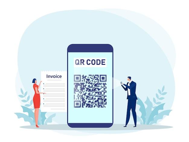 スマートフォンを使用してスキャンqrコードの概念図で支払う人々