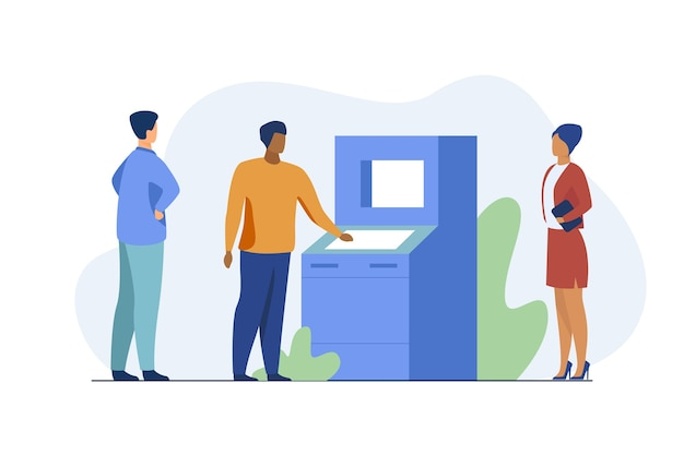 People using atm. bank customers waiting in queue, social distance flat vector illustration. banking, transaction, cash withdrawal
