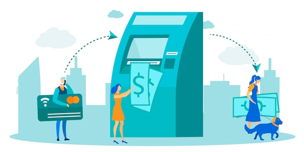 People using atm for money transaction metaphor