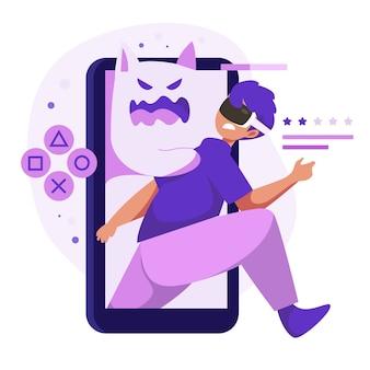 スマートフォンで拡張現実を使用している人