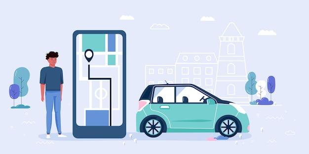 Люди, пользующиеся услугами каршеринга и аренды. большой экран смартфона с мобильным приложением для онлайн-каршеринга и совместного путешествия с маршрутом и расположением точек на карте города. транспортное векторное понятие