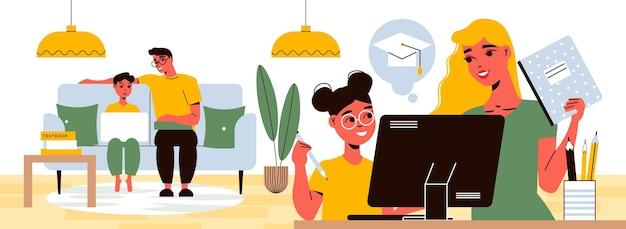 Persone che utilizzano computer e laptop per l'apprendimento