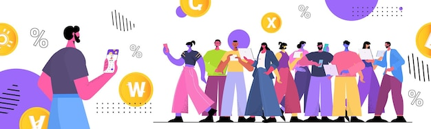 People using cryptocurrency mining app on gadgets virtual money transfer application banking transaction digital currency concept horizontal full length vector illustration