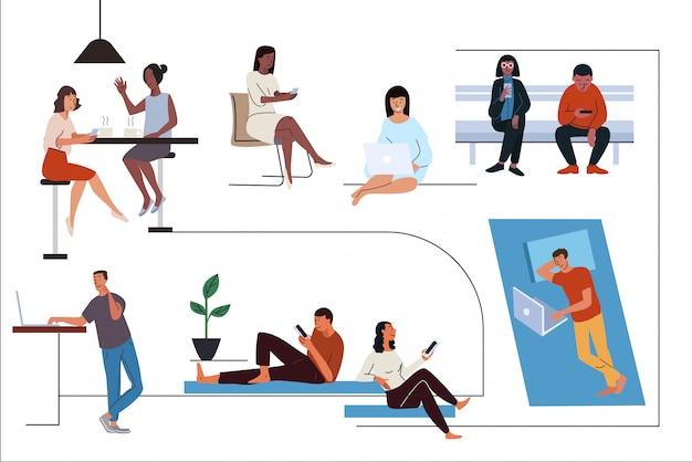 People using different gadgets flat illustrations set