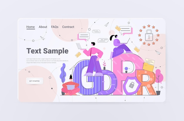 People using digital gadgets and protecting business data gdpr landing page