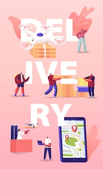 People using drones for food delivery illustration