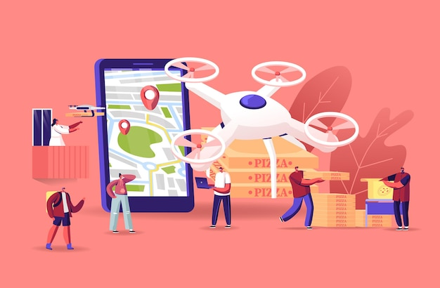 People using drones for food delivery. quadcopters bringing pizza to men and women characters