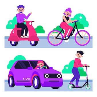 공원에서 전기 교통을 이용하는 사람들