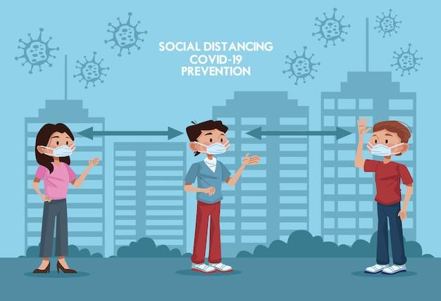 안면 마스크를 사용하고 도시에서 사회적 거리를 연습하는 사람들