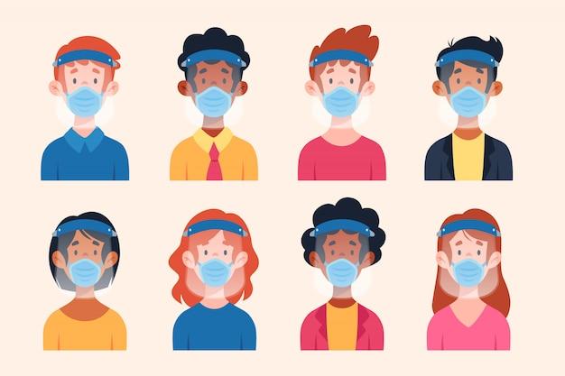 Люди, использующие защитную маску и маску