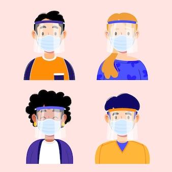 얼굴 방패와 마스크를 사용하는 사람들