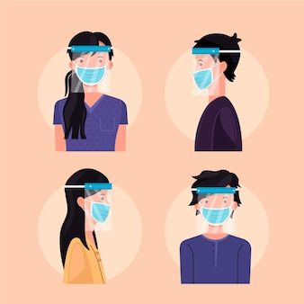People using face shield and mask collection