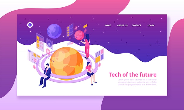 People using future technologies landing page template
