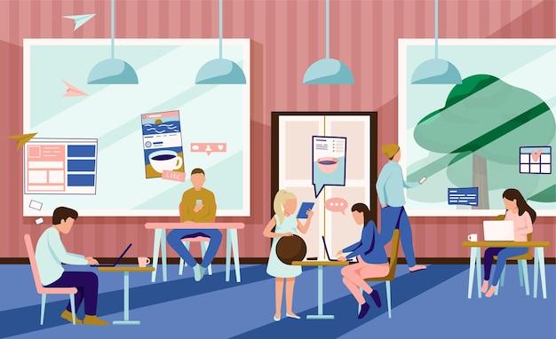 Люди, использующие гаджеты в кафетерии