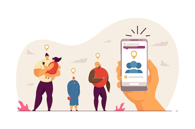 People using gps to reach destination. father holding daughter and young woman looking at phone, old lady flat vector illustration. event, gps concept for banner, website design or landing web page
