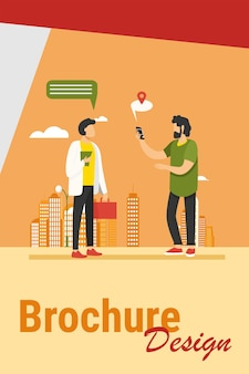 People using location app on phone. asking way, speech bubble with map pointer flat vector illustration. navigation, travel, communication concept illustration