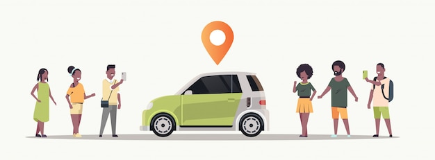 People using mobile application ordering auto with location pin online taxi car sharing carpooling concept transportation carsharing service  horizontal