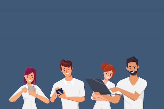 ソーシャルメディアネットワーク通信に携帯電話を使用している人々。