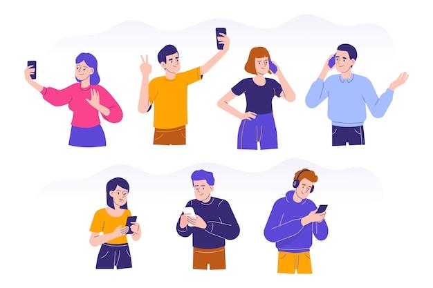 평면 디자인에서 휴대 전화를 사용하는 사람들