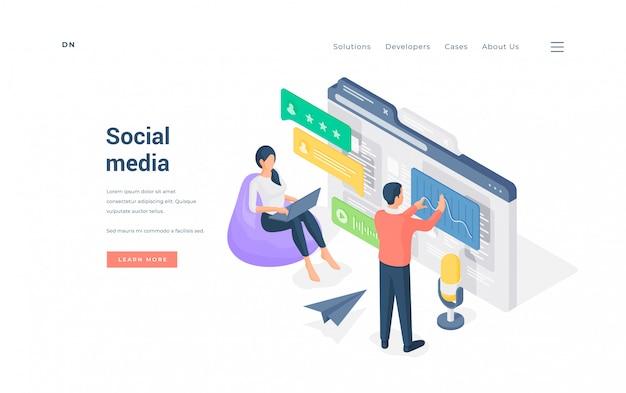 People using modern social media   illustration