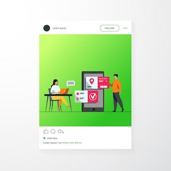 Люди, использующие онлайн-приложение для записи и бронирования. зря и женщина планируют встречу, устанавливают дату в мобильном интерфейсе. векторная иллюстрация для бизнеса, концепция интернет-технологий