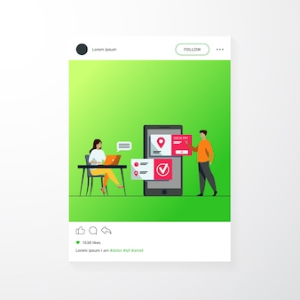 People using online appointment and booking app. mean and woman planning meeting, setting date in mobile interface. vector illustration for business, internet technology concept