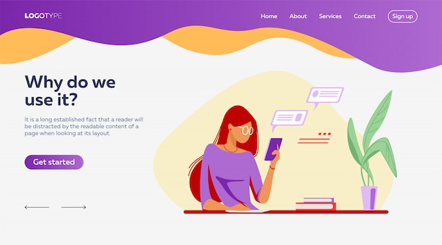 People using online apps set landing page template