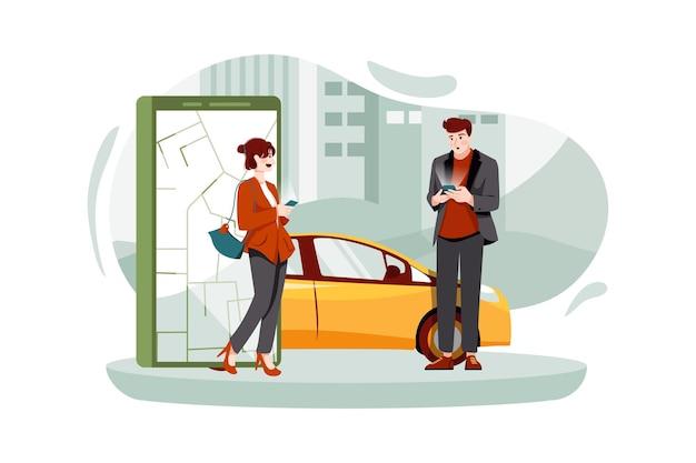 온라인 주문 택시 카 공유 모바일 애플리케이션 개념을 사용하는 사람들
