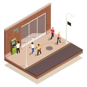 People using outdoor atm and walking along street isometric illustration