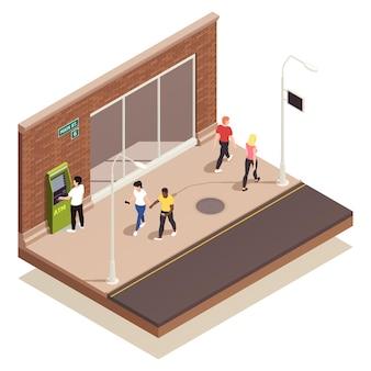 Persone che utilizzano bancomat all'aperto e camminano lungo l'illustrazione isometrica della strada