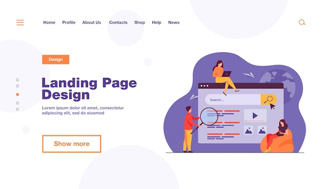 People using search box for query, engine giving result. vector illustration