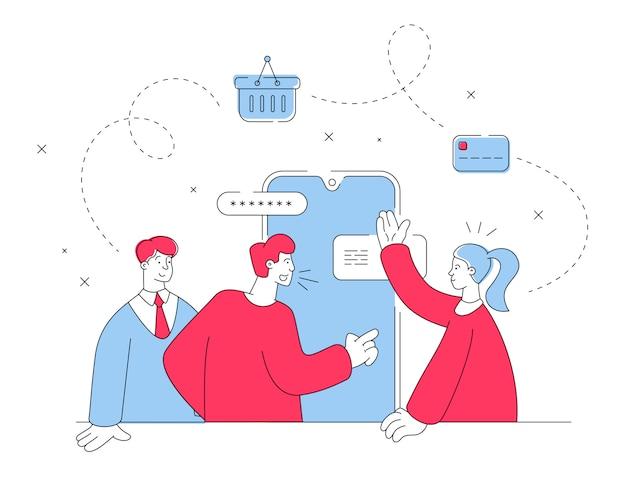 온라인 쇼핑을 위해 스마트 폰을 사용하는 사람들. 플랫 라인 일러스트