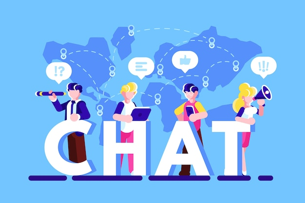 People using smartphone, laptop and chatting via internet. wi-fi concept. social media. social network. blogging. business chatting. dialogue speech bubbles. chat. flat vector illustration isolated.