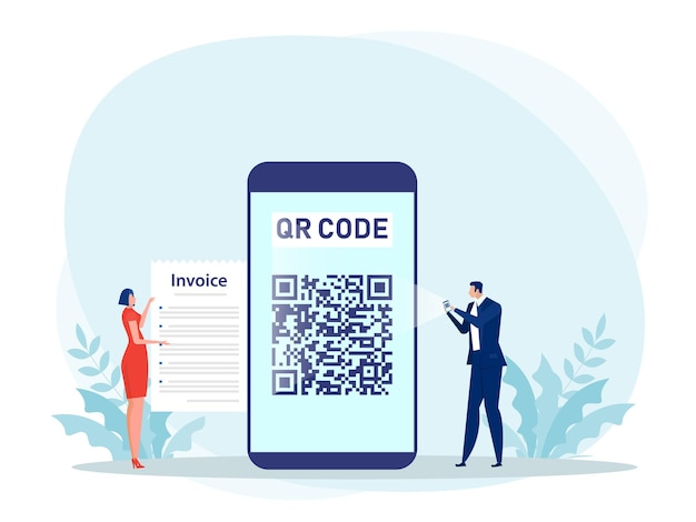 People using a smartphone to pay with scan qr code concept illustration