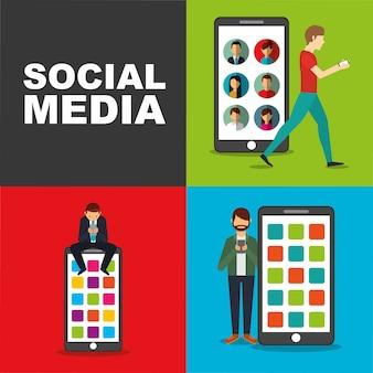큰 모바일 장치 소셜 미디어와 함께 스마트 폰을 사용하는 사람들