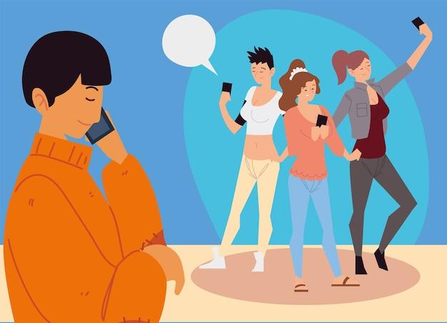 스마트 폰을 사용하는 사람들, 셀카를 복용하는 여성과 그림을 부르는 남자