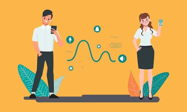 Люди, использующие приложение социальных сетей на смартфоне коммуникационный образ жизни