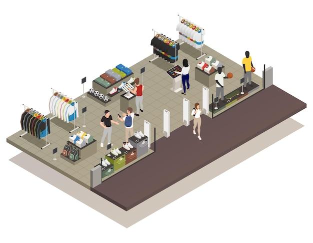 옷 가게 아이소 메트릭 그림에서 터치 스크린 전자 보드를 사용하는 사람들