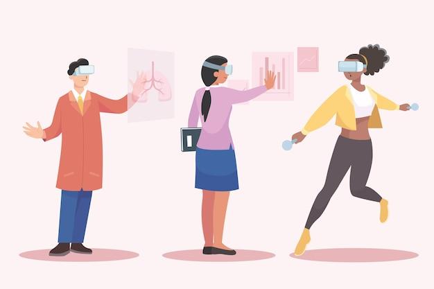 People using virtual reality glasses