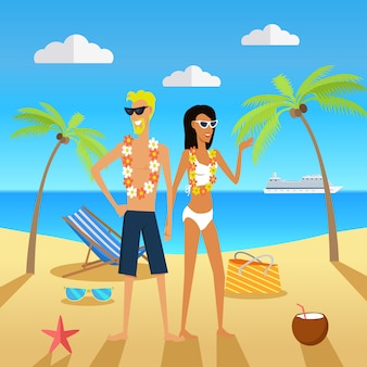 People on vacation vector concept in flat design