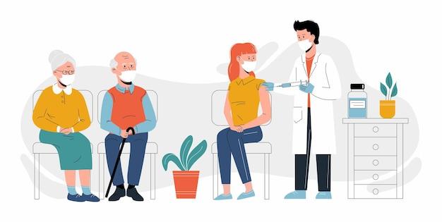 人々の予防接種。女性にコロナウイルスワクチンを接種しているクリニックの医師。高齢の患者さんが並んで待っています