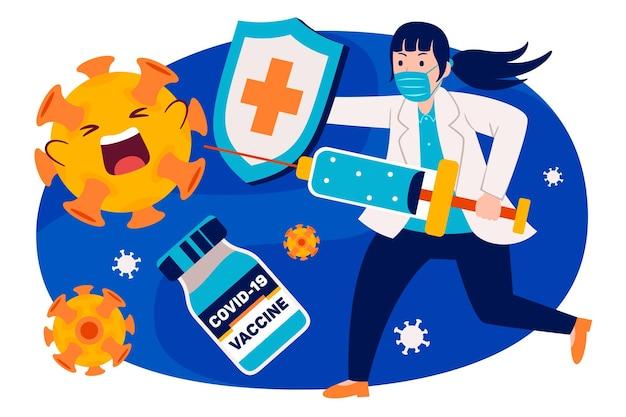 フラットなデザインスタイルの人々の予防接種
