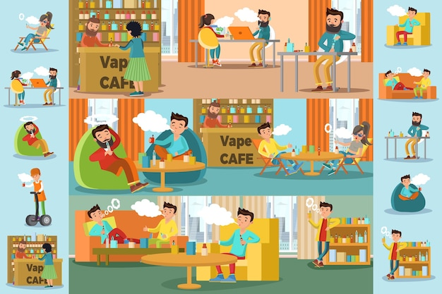 People in vape cafe infographic template