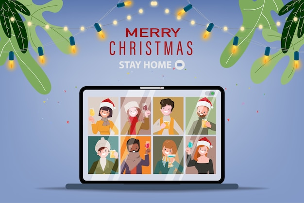 People video call conference on christmas holidays.
