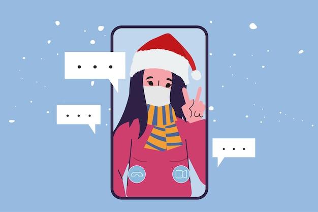 クリスマスの人々のビデオ通話会議。