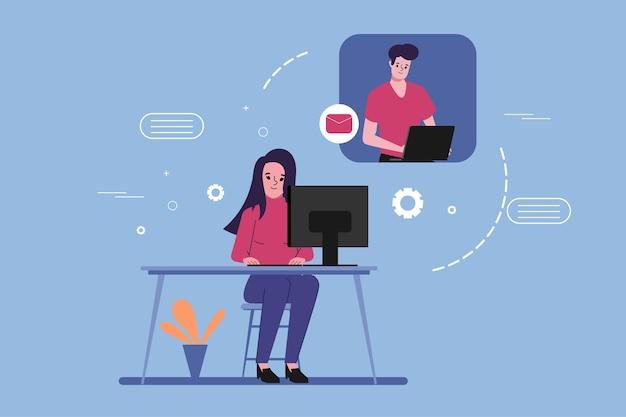 Люди видеоконференции на портативном компьютере. социальные медиа в чате всемирной концепции иллюстрации.
