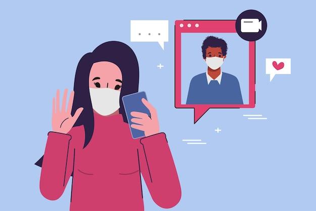 スマートフォンでの人々のビデオ通話会議。
